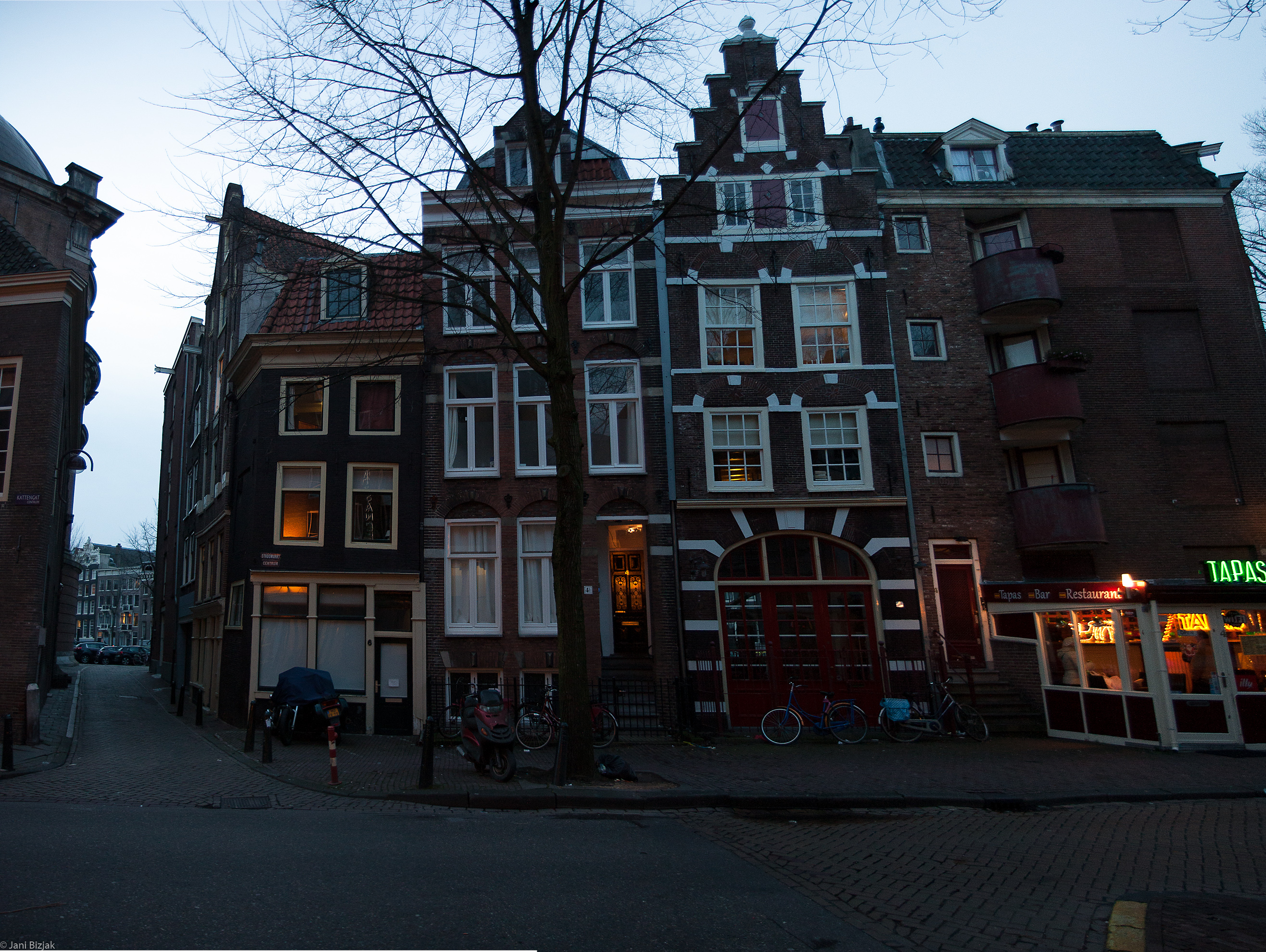 Narrow buildings.