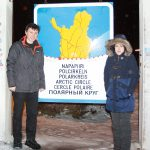 Me and Veronika at crossing arctic circle.
