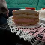 Biba trying to eat some of the cake, although she is not allowed.
