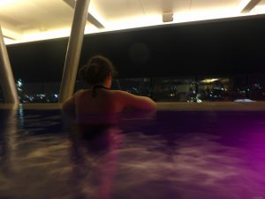 It had an infinity swimming pool on the rooftop.
