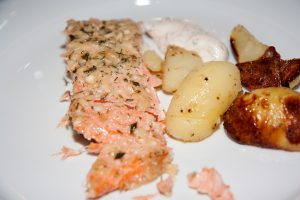 Main dish with salmon