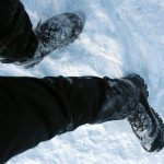 Frozen pants up to knees.
