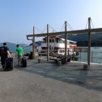 Boarding ferry - it's the only way to get to Jean's island.