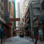 Narrow streets and tall buildings.
