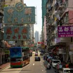 Streets of Hong Kong from a bus.