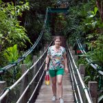 Veronika crossing suspension bridge.