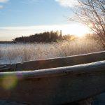 Frozen boat in the lake.