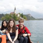 Jean and Maggie visit Slovenia. Here we went for a boat ride in Bled.