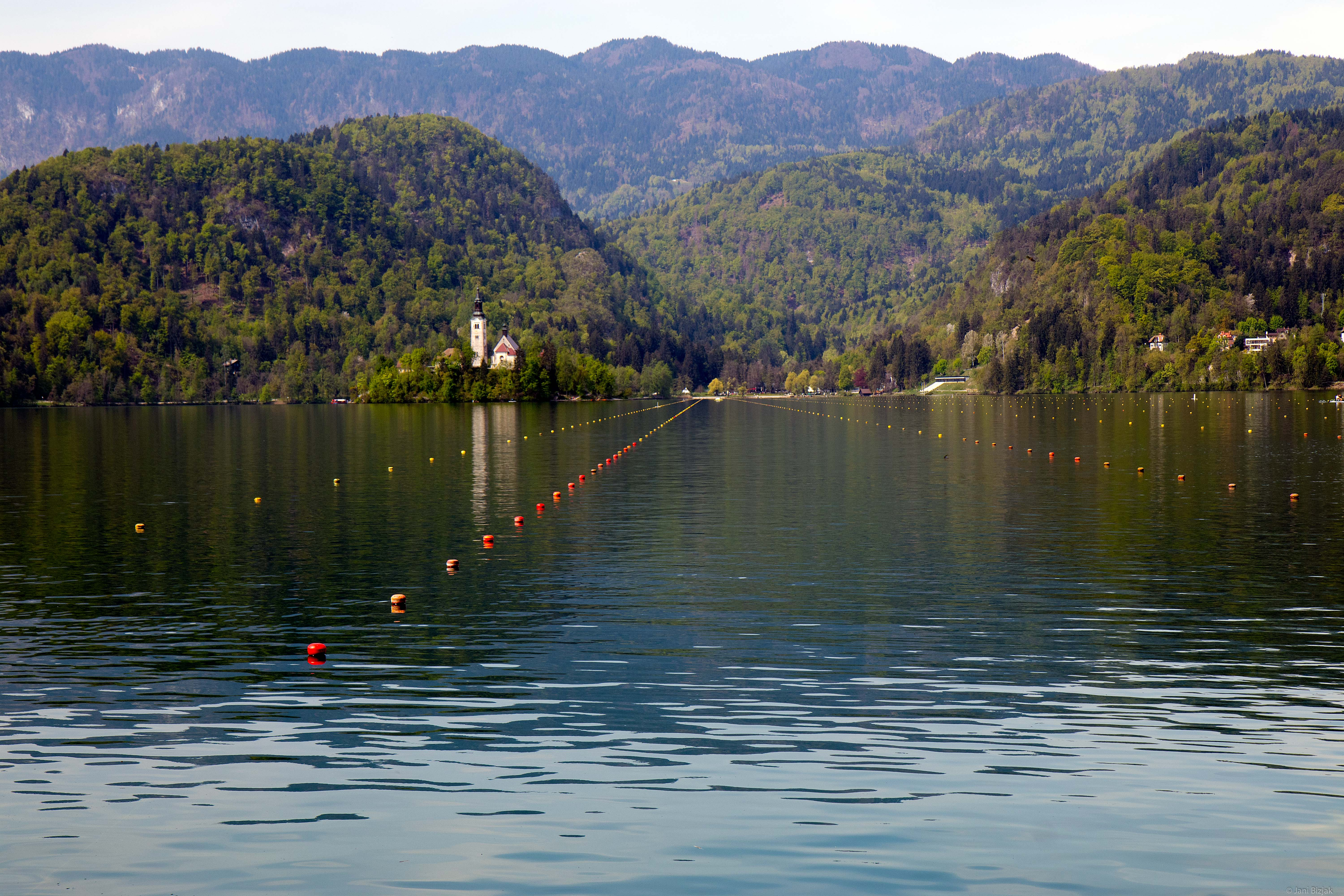 Lake Bled with an island in the middle.