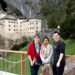 Jean, Maggie and me in front of Predjama castle.