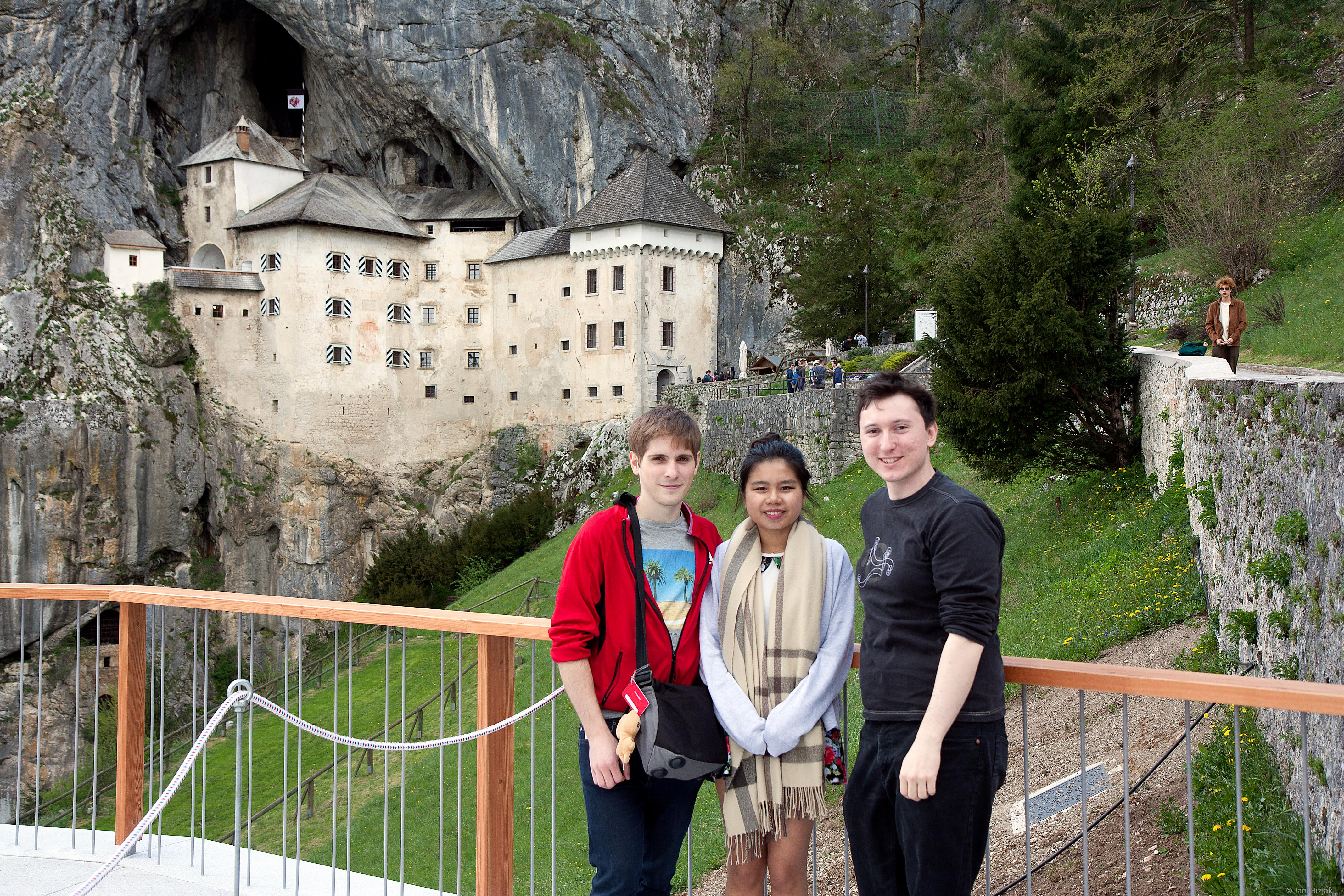 Jean, Maggie and me in front of Predjama castle.