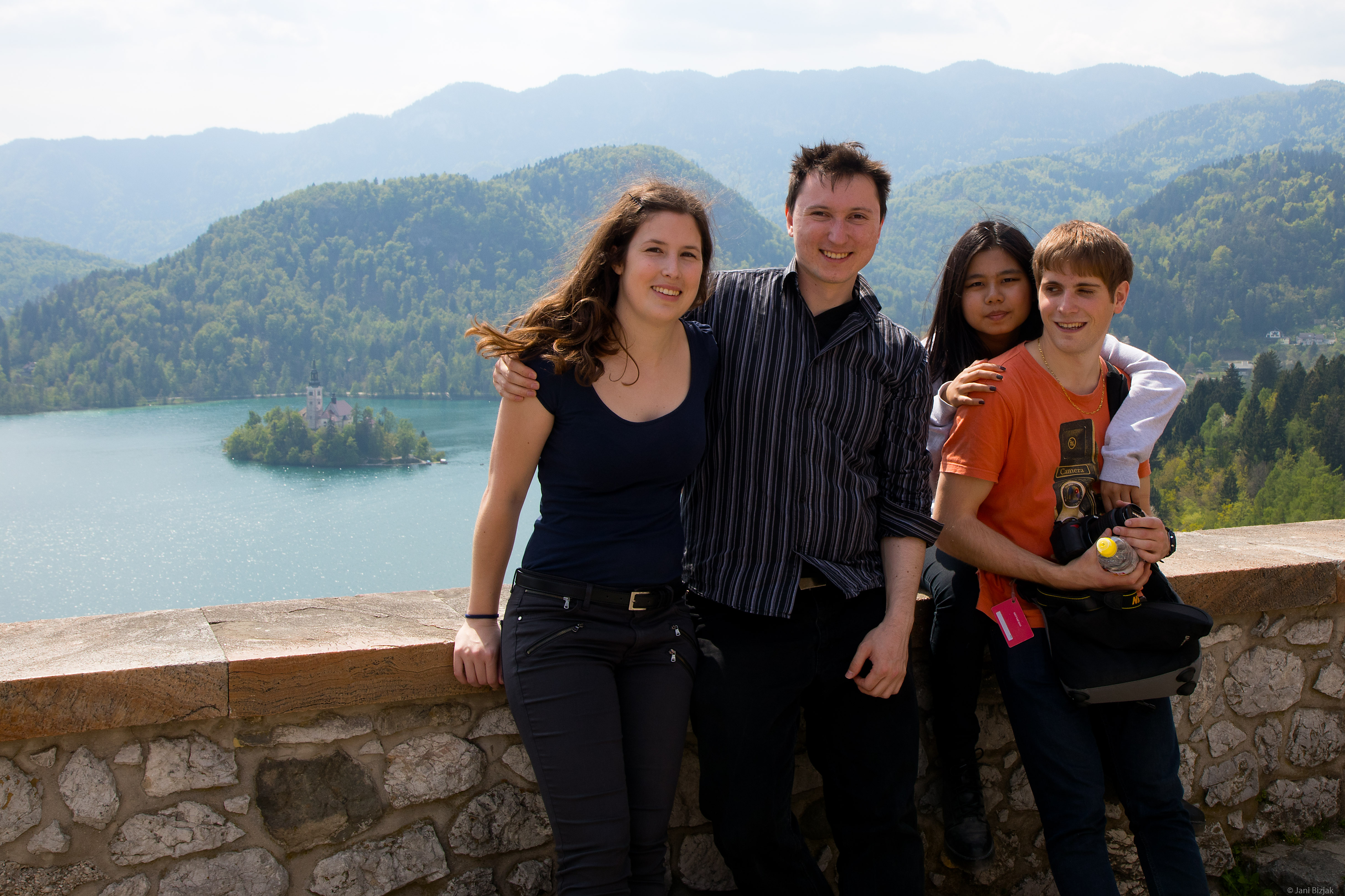 Veronika, I, Maggie and Jean at Bled castle.
