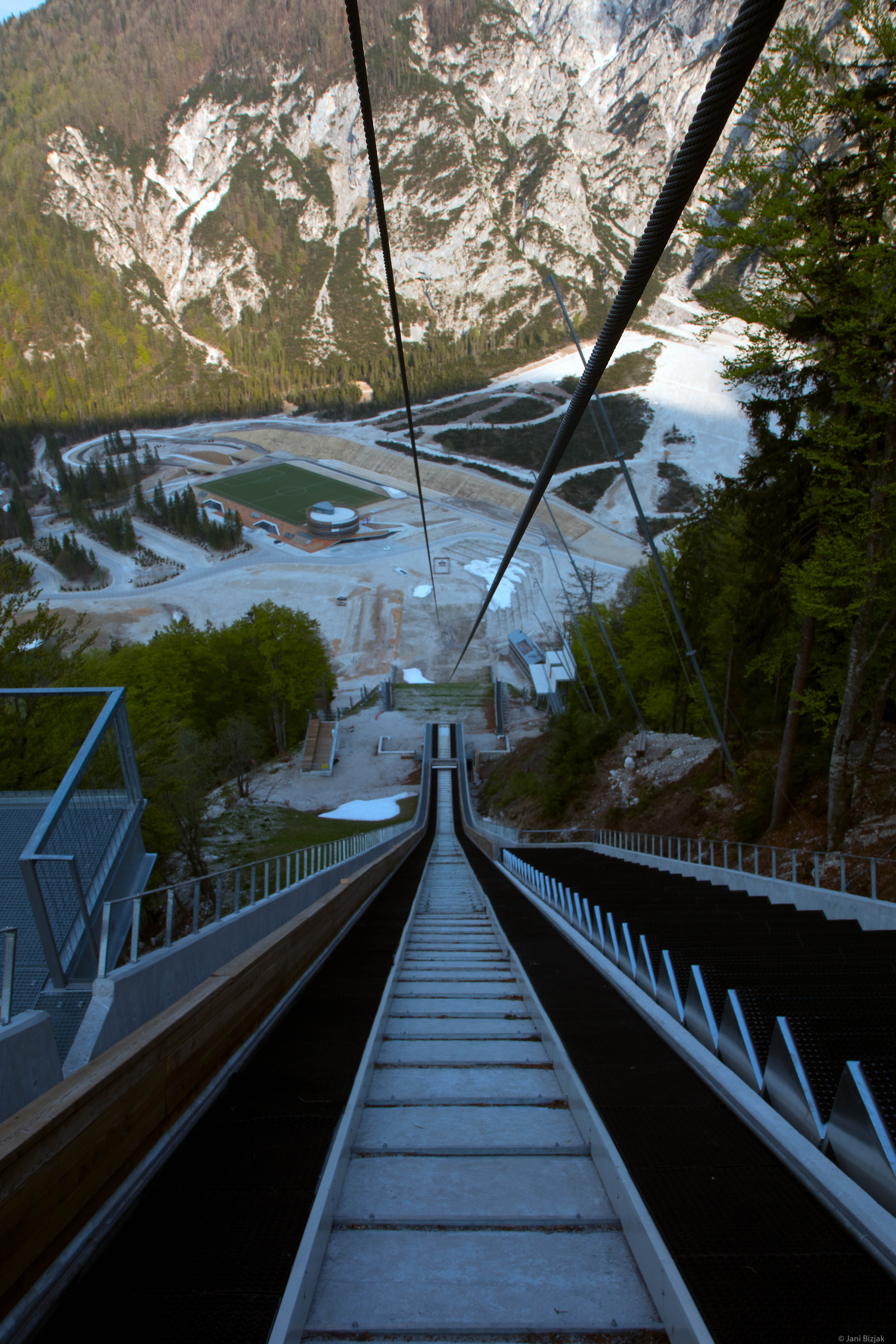 Top of a ski jump in Planica. About 250m away from the landing strip.