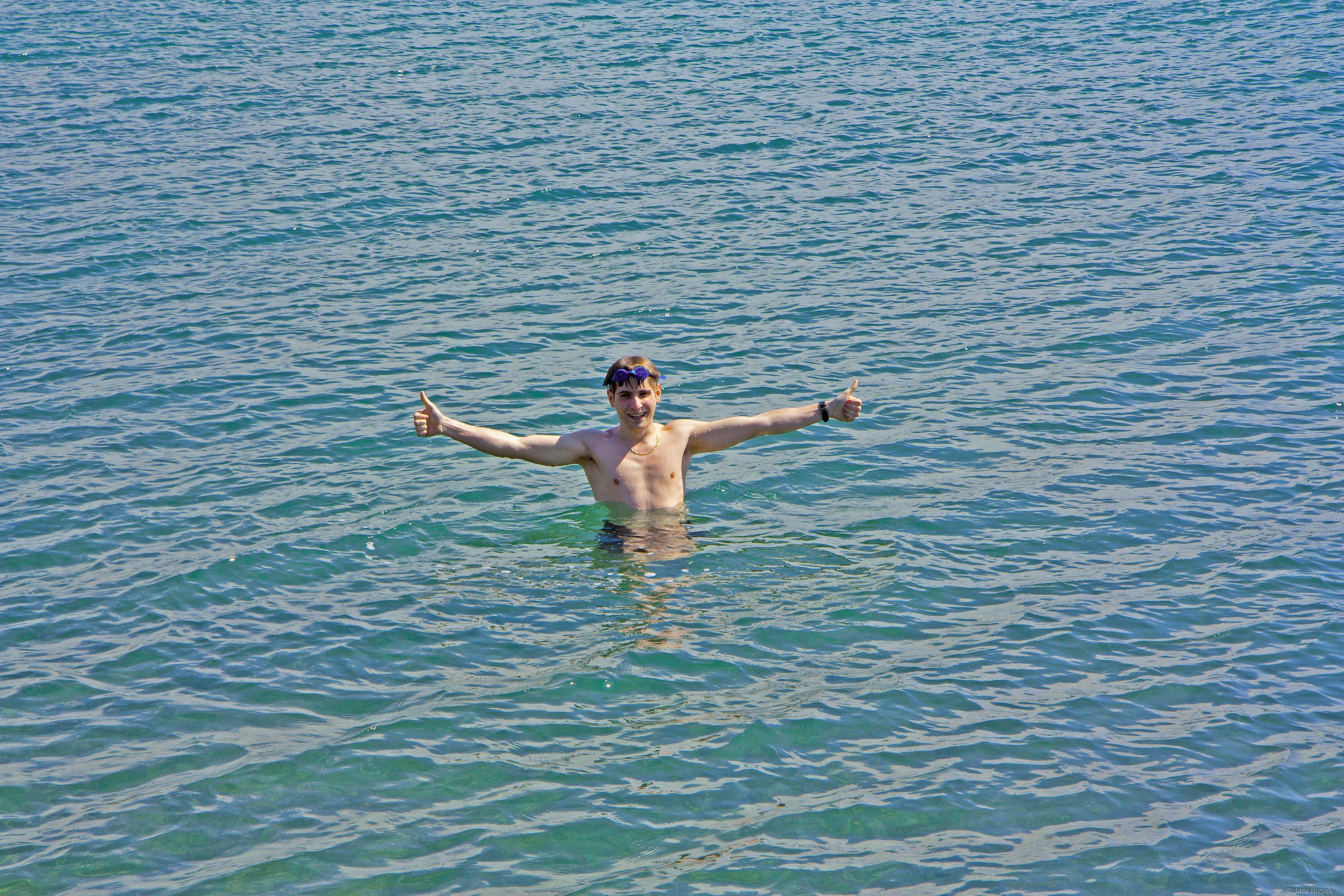 Jean swimming in April