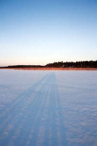 Long shadows on the lake bed.