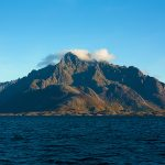 Lofoten mountains rising out of the sea.