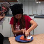 Lin is preparing sashimi