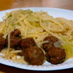 Noodles with cabbage and Swedish meatballs made by Liff and Allen