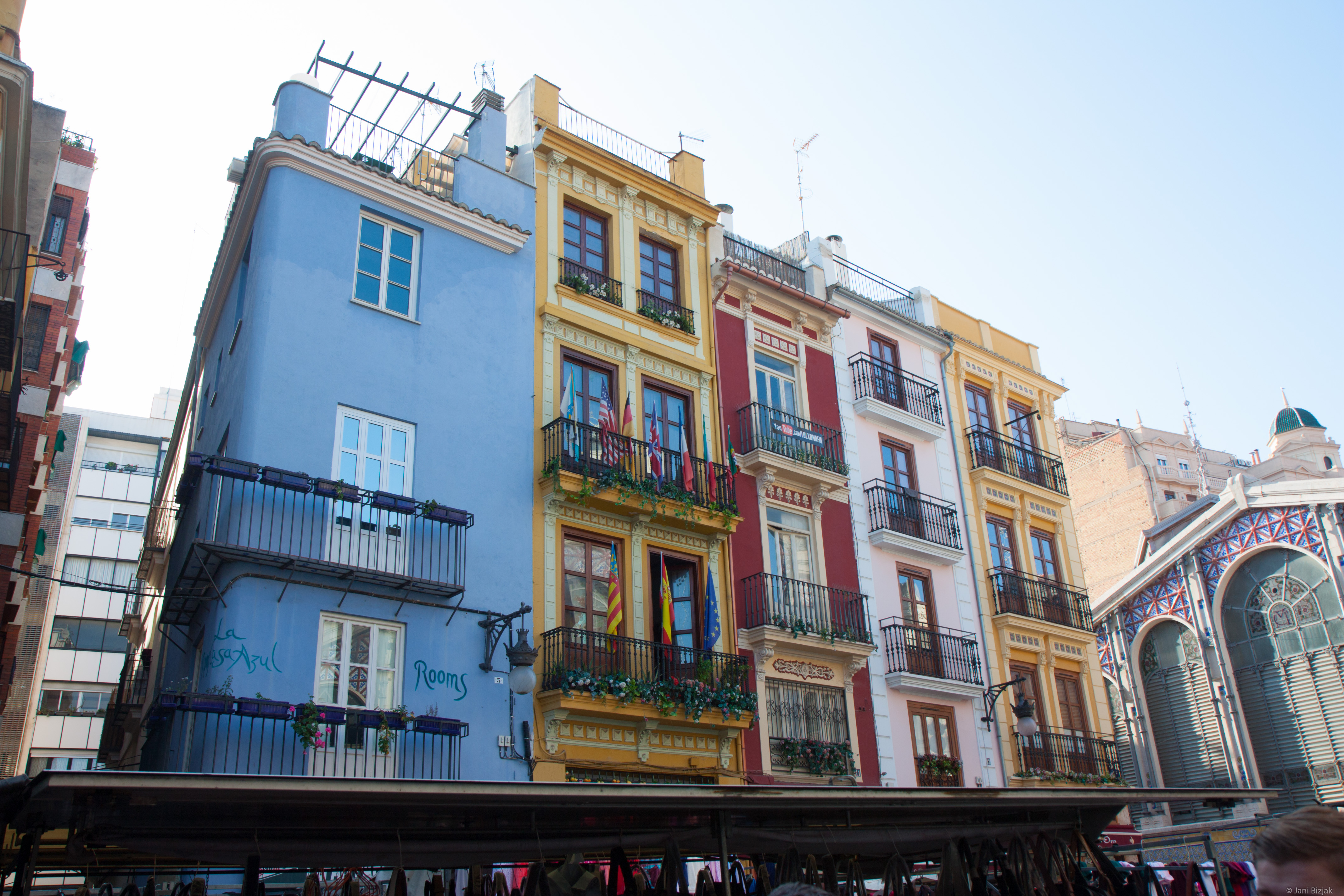 Some colourful buildings.