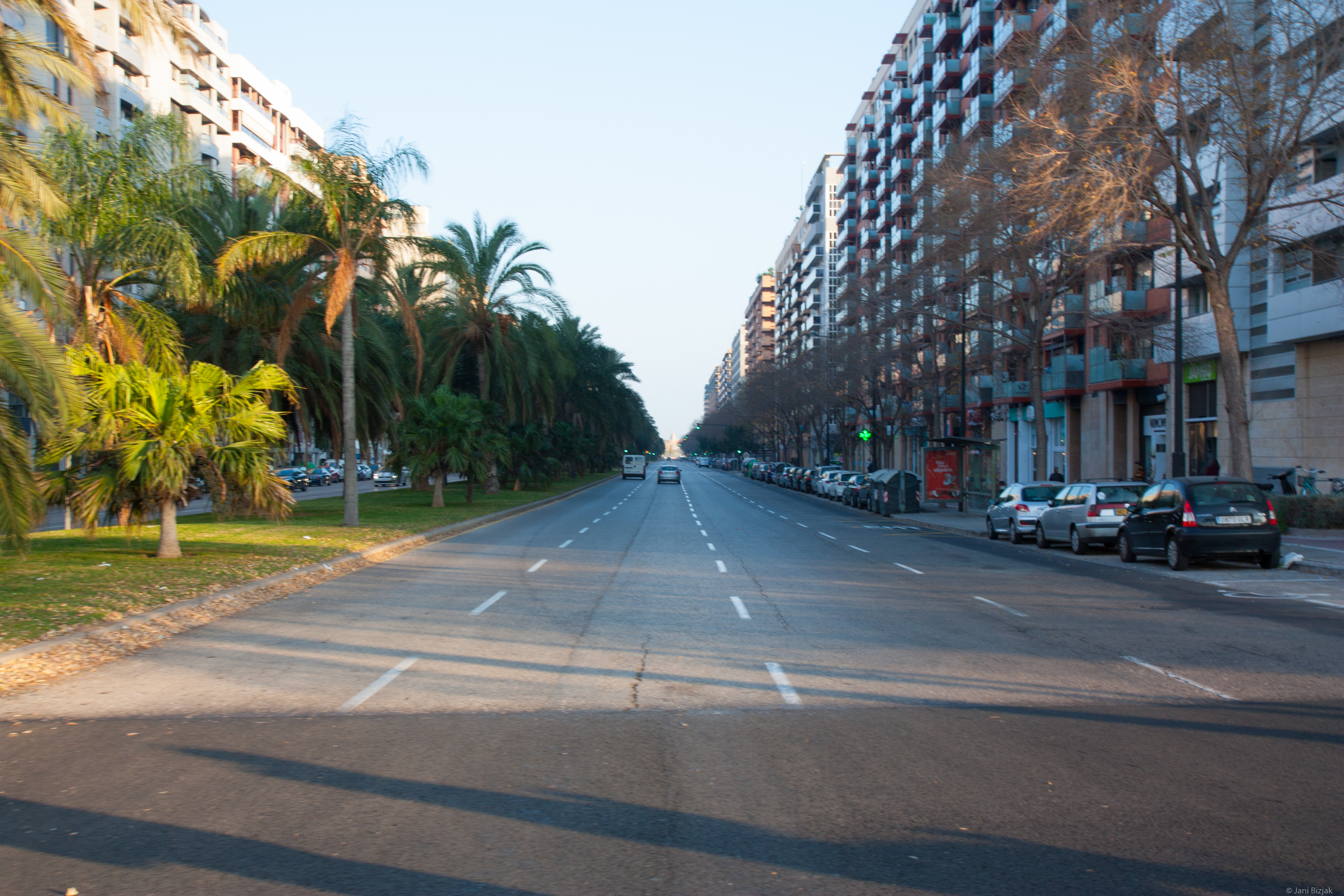 Almost empty streets during the summer