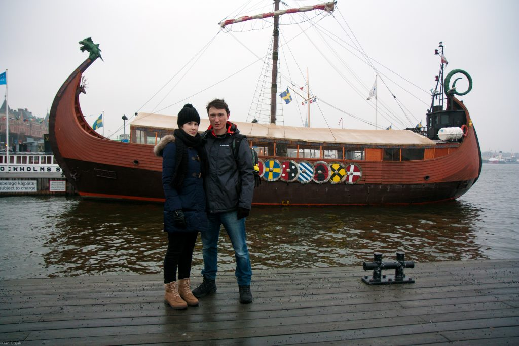 Veronika and I in front of a viking boat.