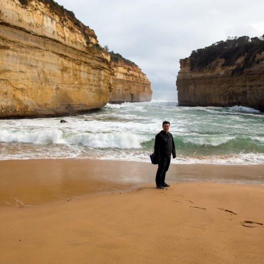 Sandy beach in small bay