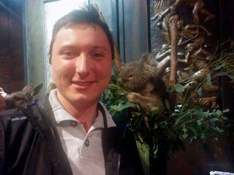 Me, koala and kangaroo behind me.