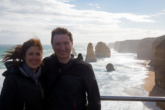 Veronika and I in front of the cliffs.