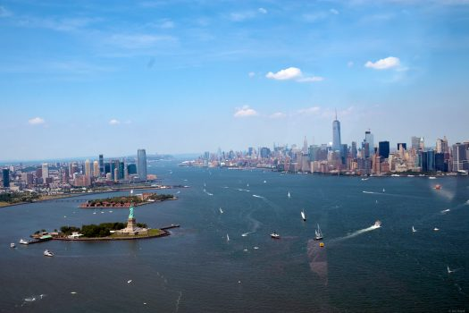 Manhattan and Lady Liberty from the helicopter.