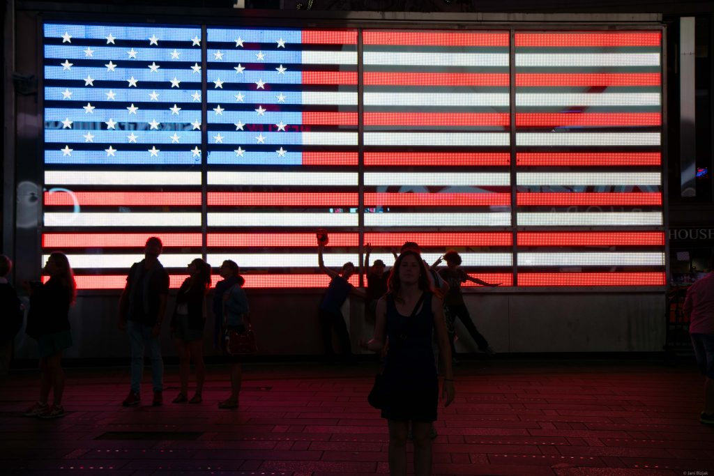 USA flag at the time square.