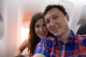 Veronika and I landing on the plane to New York, USA.