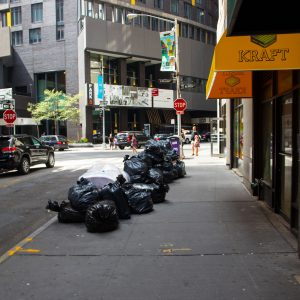 Trash bags in the middle of the street