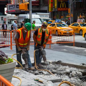 Workers on time square.