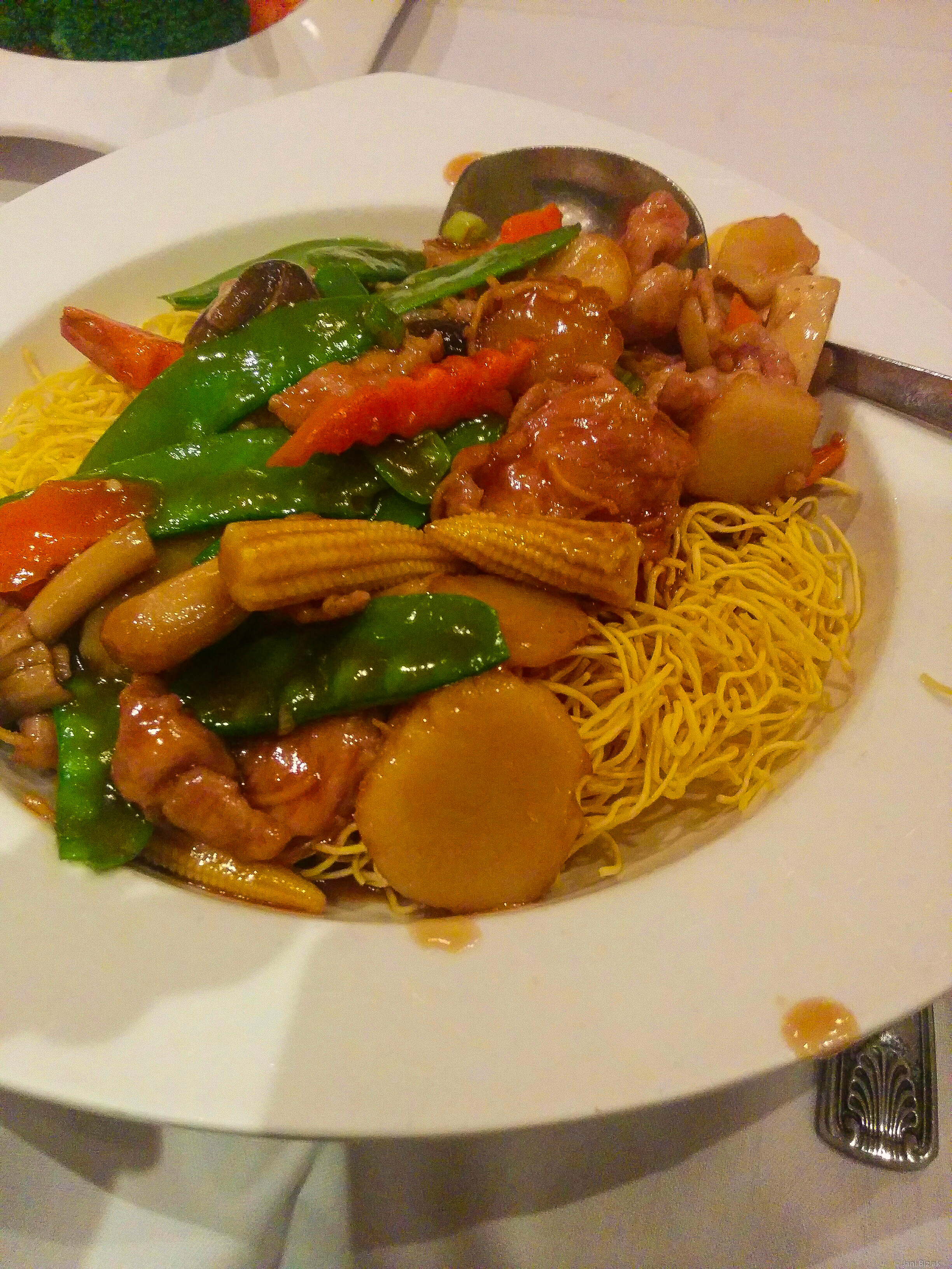 Chinese food with some micro vegetables over noodles.