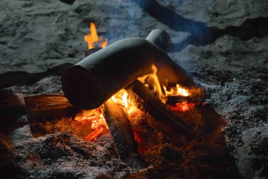 Camp fire on Fraser island.