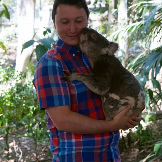 Me holding a koala, this one got quite snug with me.