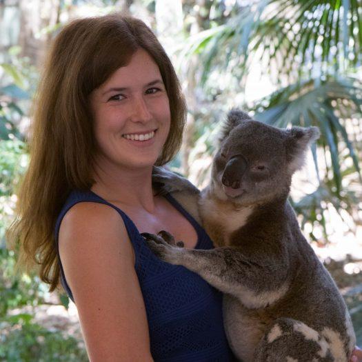 Veronika holding a koala