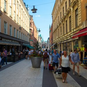 Crowded streets of Stockholm.