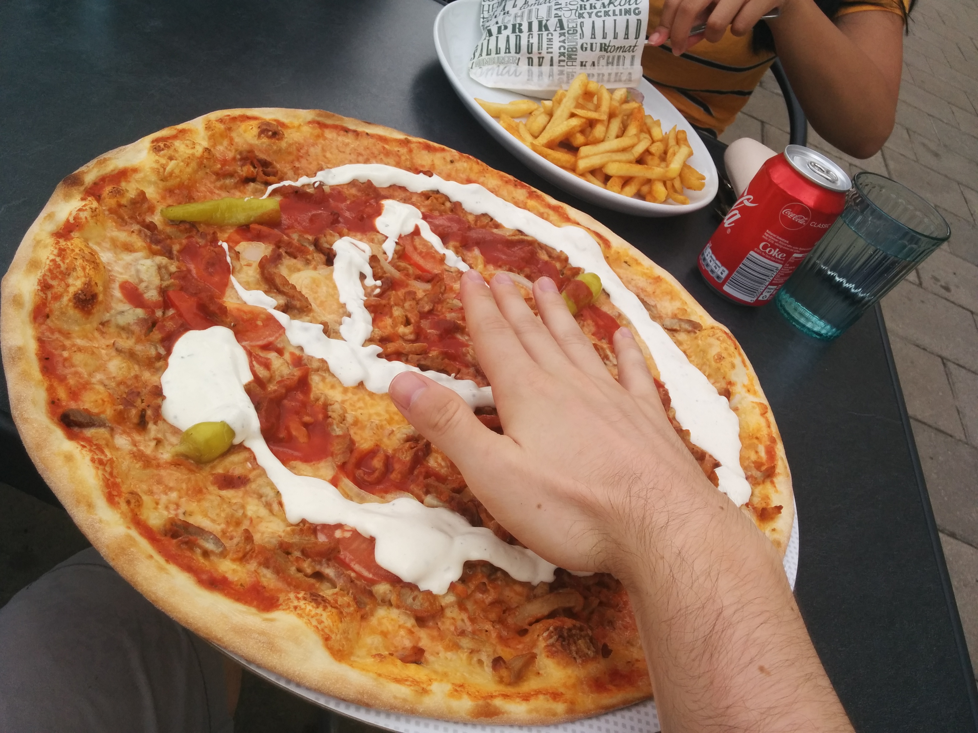 Pizza in Sweden. Suprisingly they are not expensive, about 10€ if I remember correctly, which is cheap for Sweden.