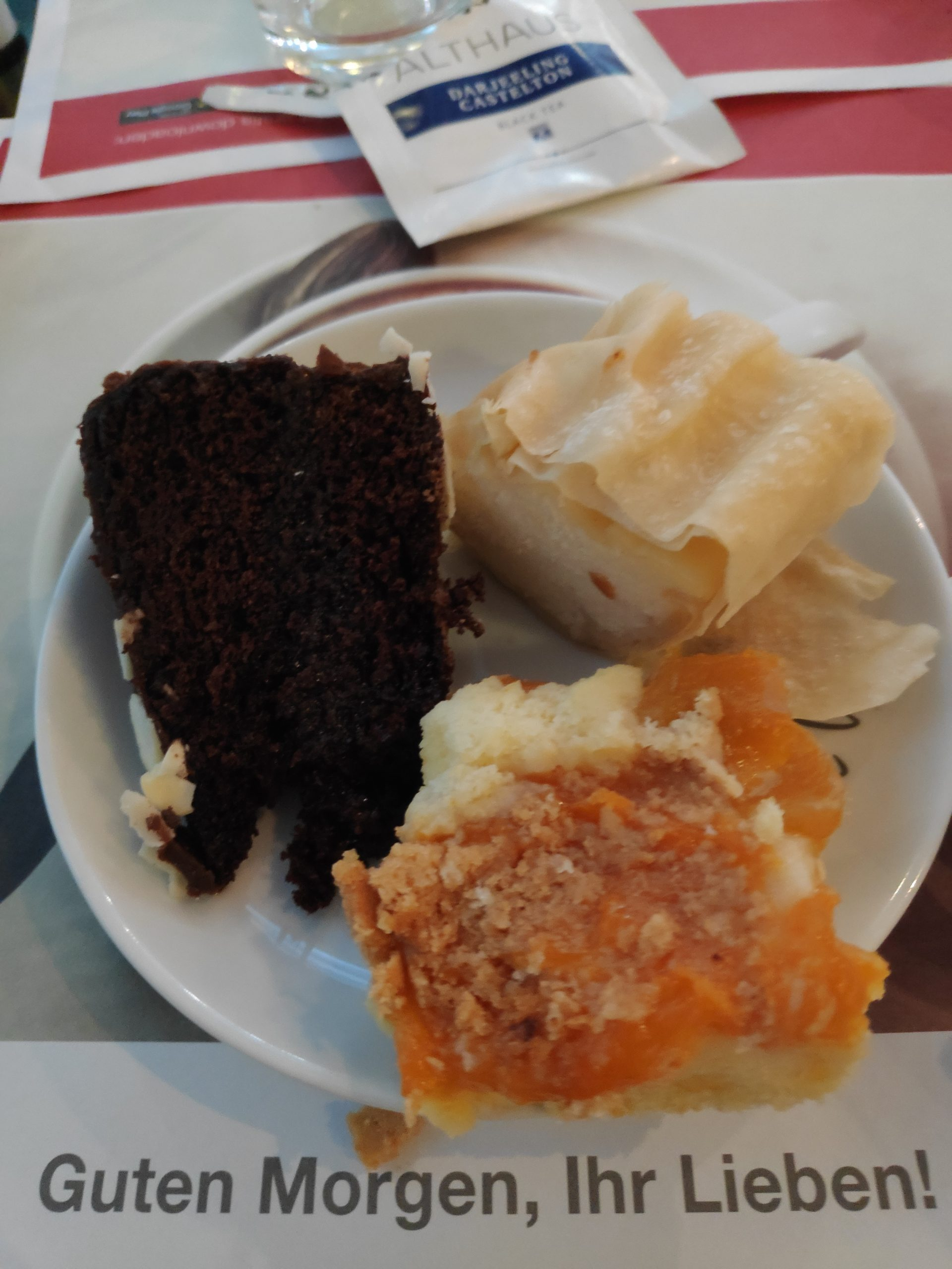 Strudel and cake for breakfast.