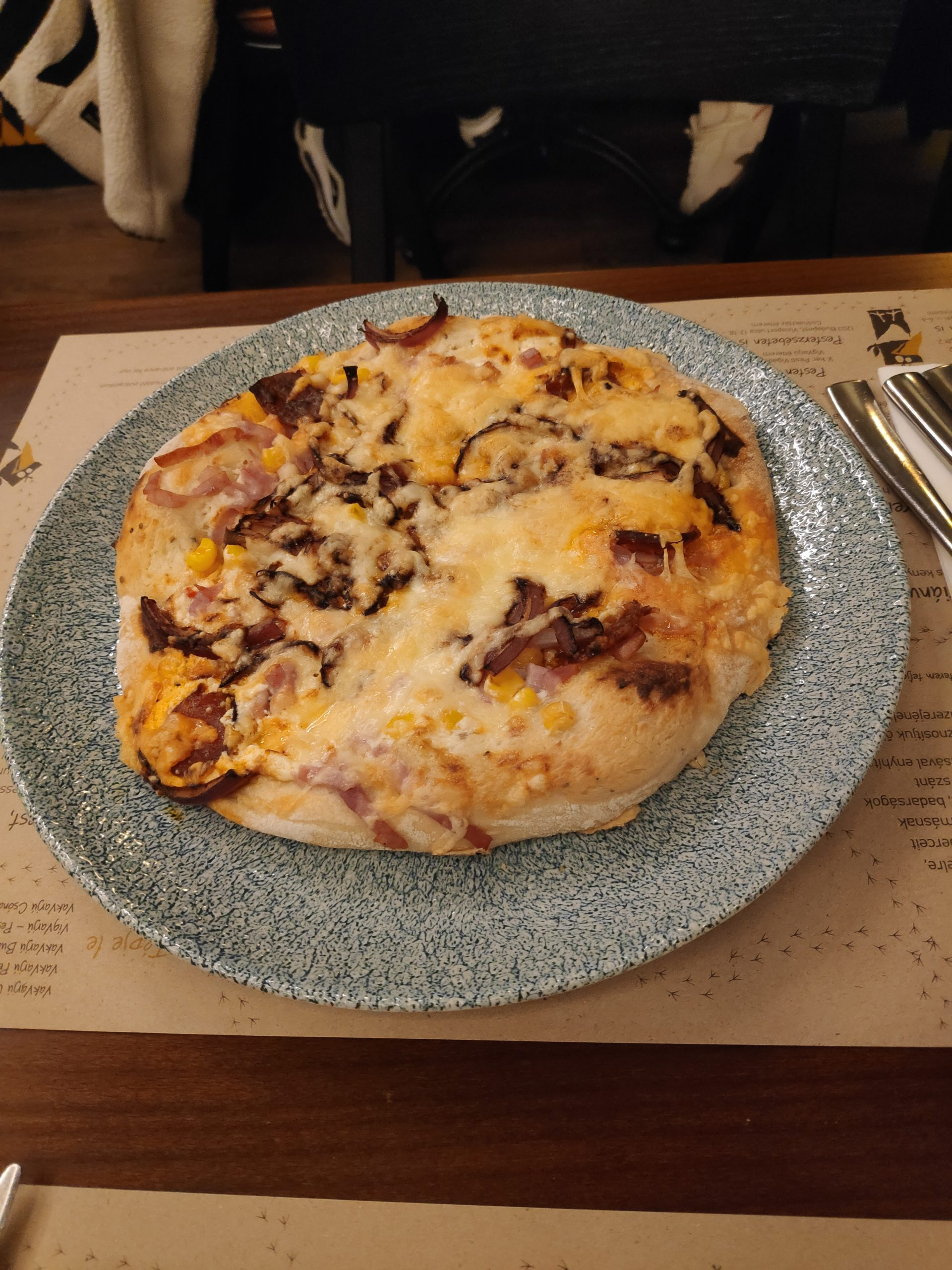 It's actually not pizza (yea, whatever), but traditional dish called Langos. Its basically deep fried bread with some pizza toppings. We tried different ones, with mushrooms, cheeses and bacon, over the days. Definitely very good.