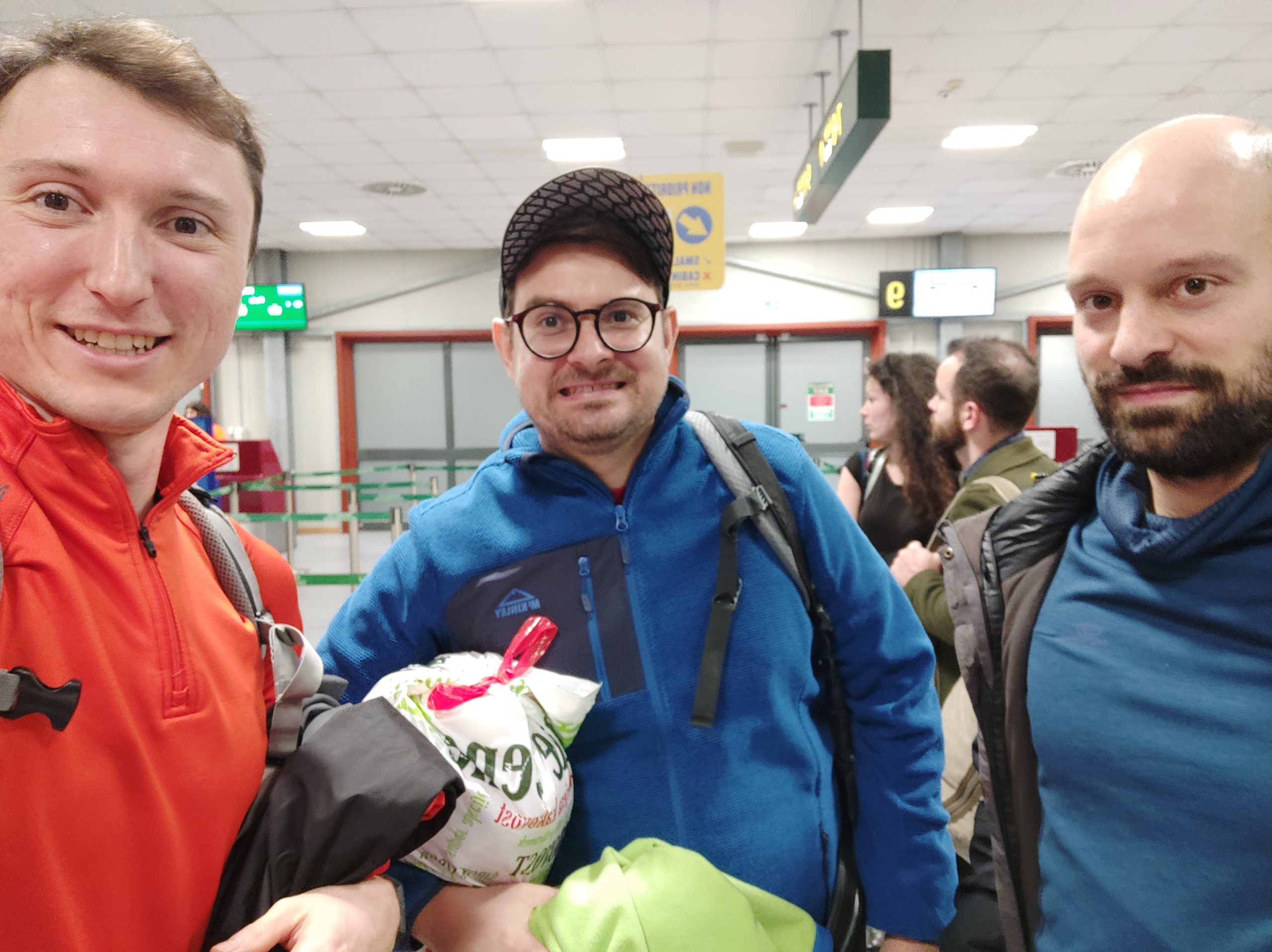 Me, Aljoša and Jakob, meeting at the airport.