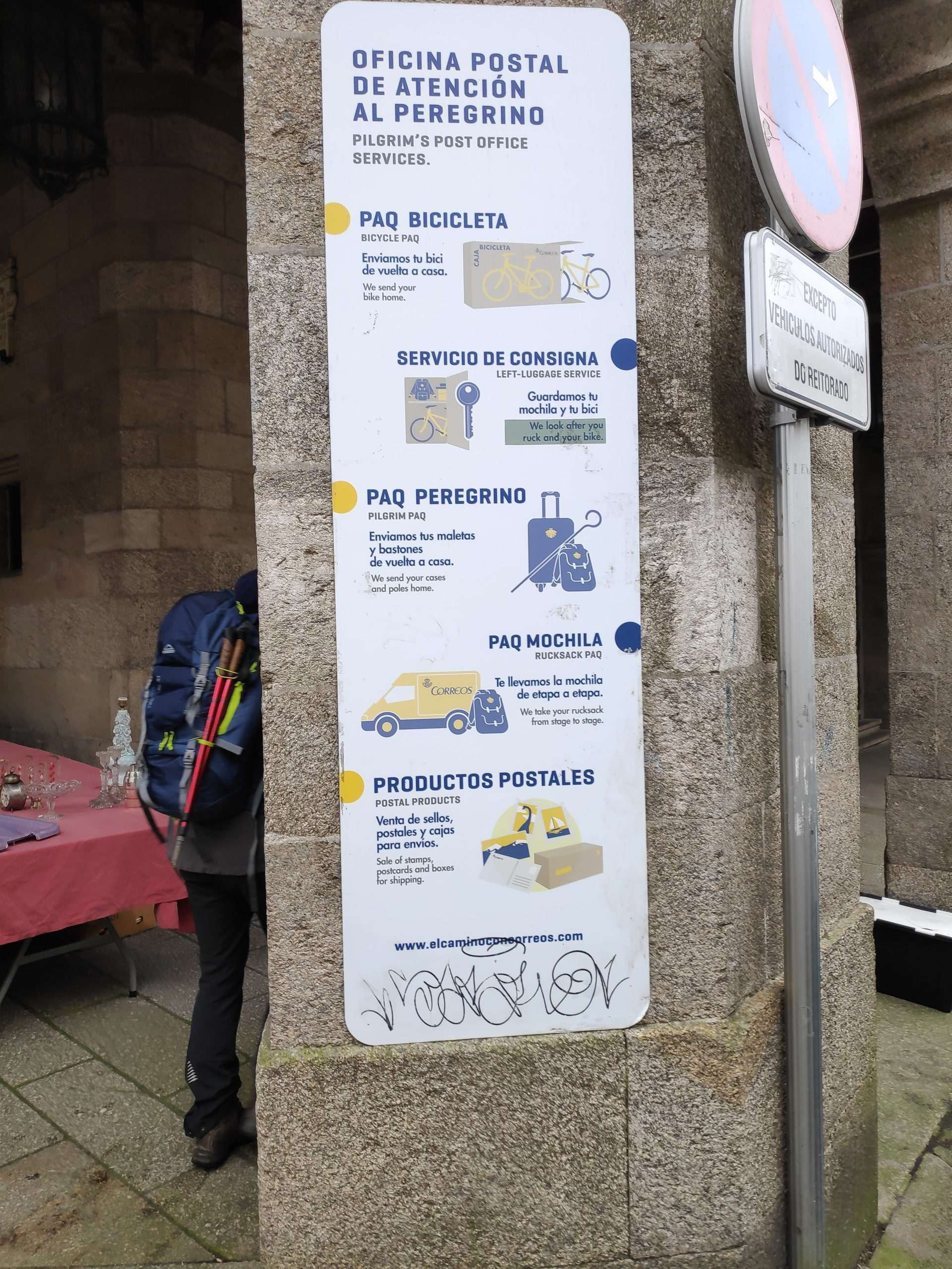 Post for pilgrims. I've mentioned before, that during high season, it's possible to send your backpacks etc. to the next albergue/stop and walk without them.