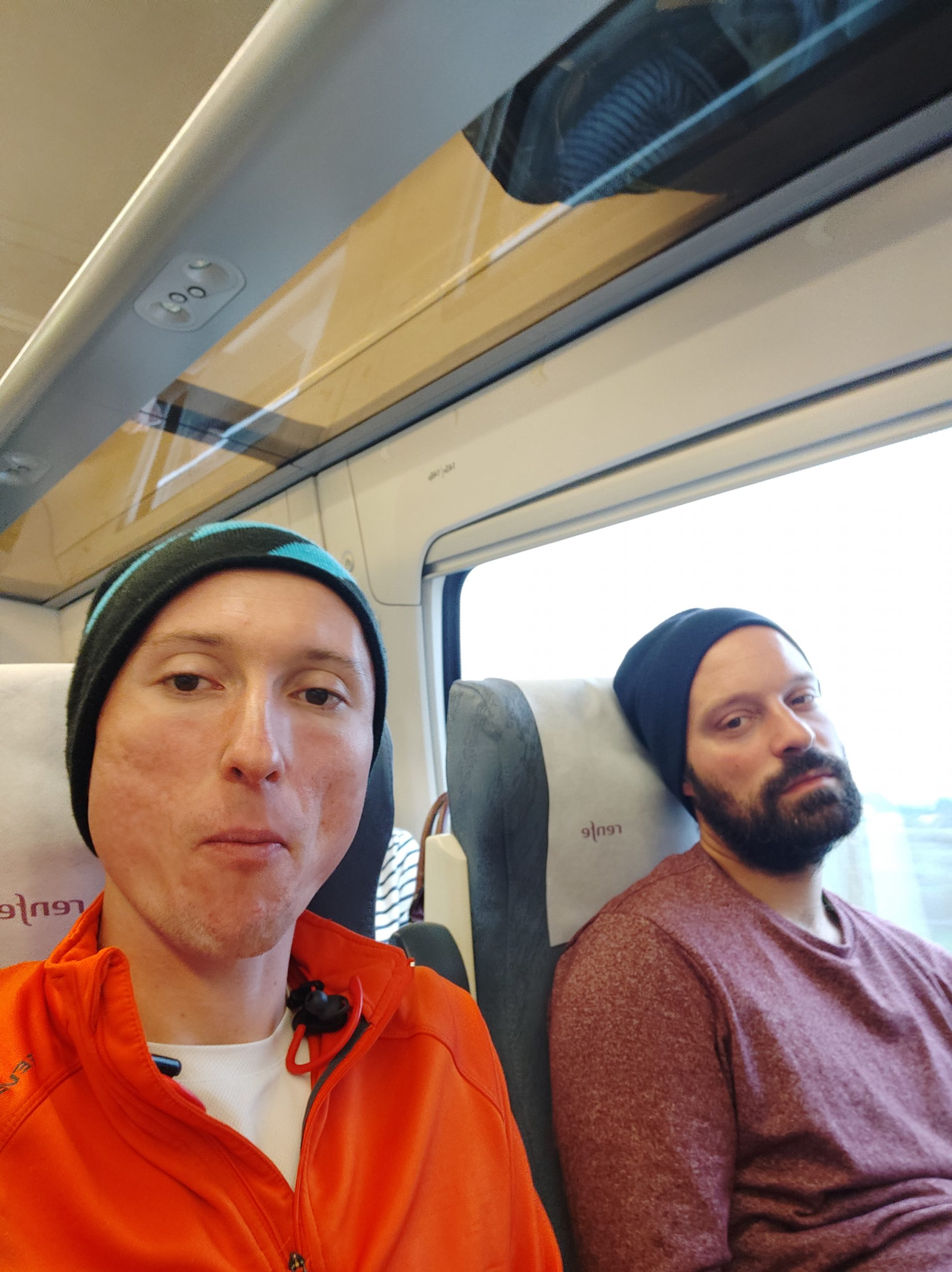 A bit tired, from two weeks of walking, riding down (the memory lane) in reverse directions from where we walked. The train was also quite nice, I think the speed was around 150-200km/h.