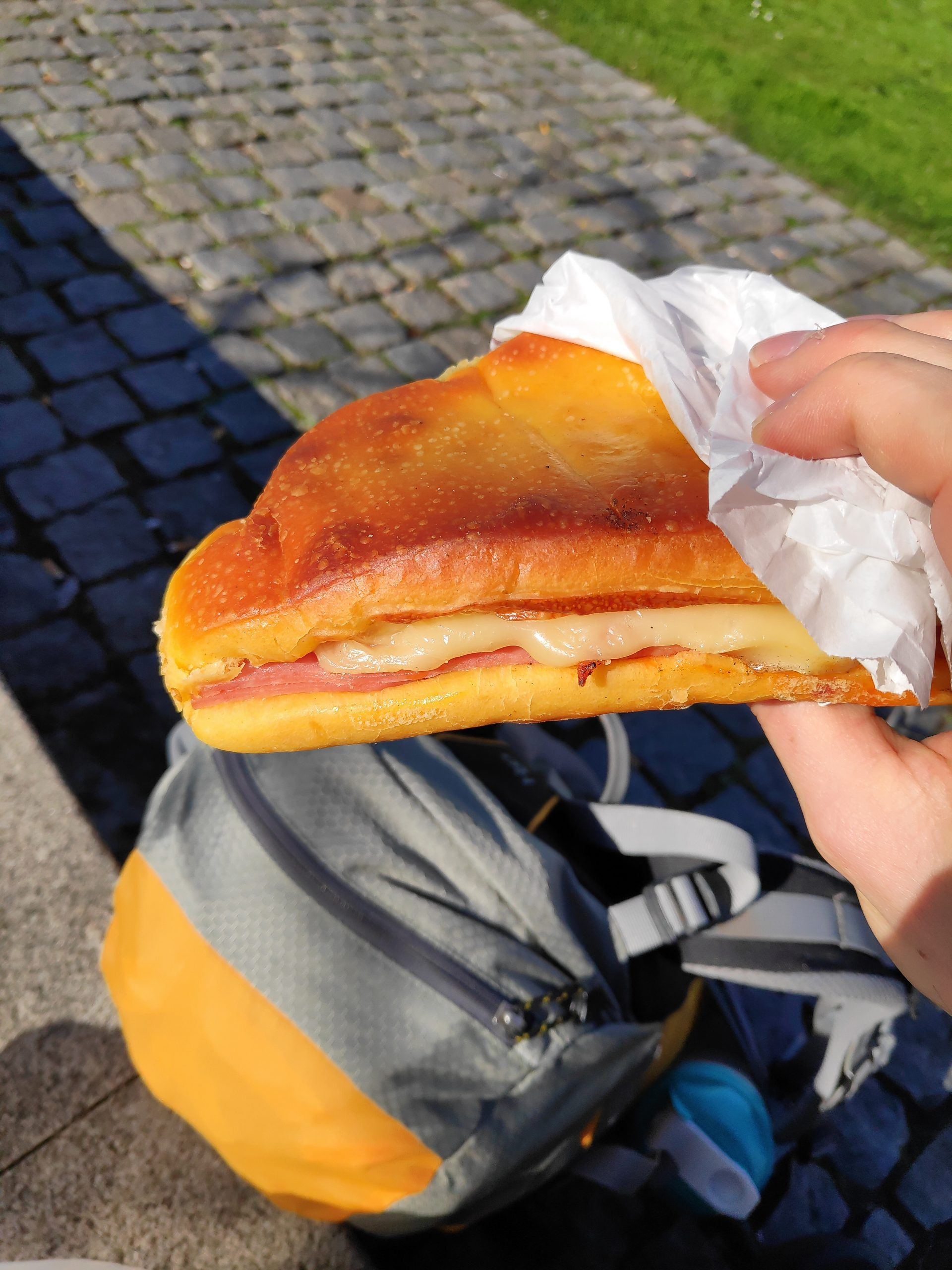 Desert or sandwich? Sweet pastry with ham and cheese.