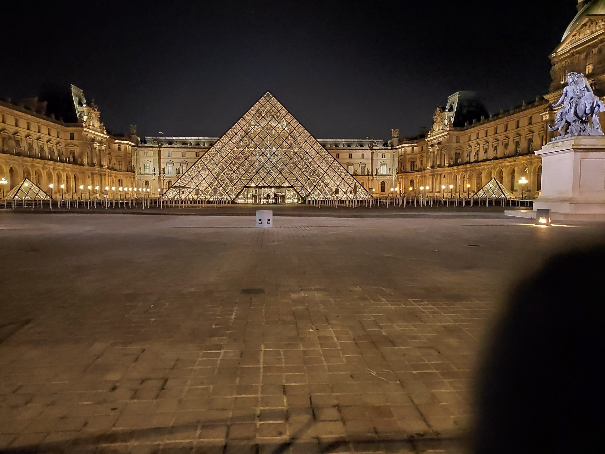 The famous pyramid in front of Louvre